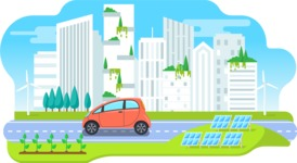 Vector Backgrounds - Mega Bundle - Colorful Modern Eco City Vector Background