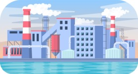 Vector Backgrounds - Mega Bundle - Vector Industrial City Background with Bad Ecology