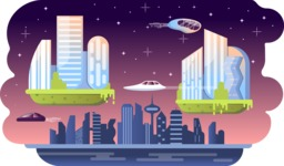 Vector Backgrounds - Mega Bundle - Colorful High Tech Futuristic City Vector Background