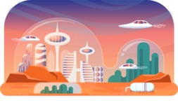 Vector Backgrounds - Mega Bundle - City from the Future Landscape Background