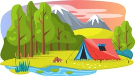 Vector Backgrounds - Mega Bundle - Tent in the Woods Landscape Vector Background Illustration