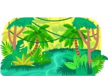Vector Backgrounds - Mega Bundle - Colorful Jungle Vector Background Illustration