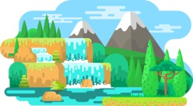 Vector Backgrounds - Mega Bundle - Nature Landscape with Mountains and Waterfall Vector Background Illustration