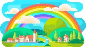 Vector Backgrounds - Mega Bundle - Rainbow Vector Background Illustration