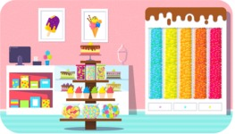 Vector Backgrounds - Mega Bundle - Vivid Candy Shop Interior Vector Background Illustration