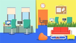 Vector Backgrounds - Mega Bundle - Open Space Office Vector Background Illustration