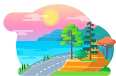 Vector Backgrounds - Mega Bundle - Flat Sunset Landscape Illustration Vector Background