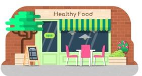 Vector Backgrounds - Mega Bundle - Healthy Food Shop Illustration Vector Background