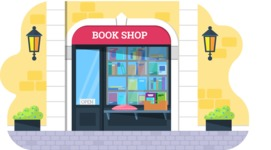 Vector Backgrounds - Mega Bundle - Flat Book Shop Illustration Vector Background