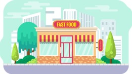 Vector Backgrounds - Mega Bundle - Flat Fast Food Shop Illustration Vector Background
