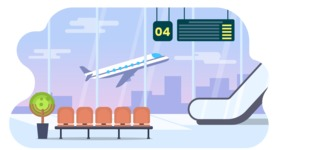 Vector Backgrounds - Mega Bundle - Colorful Airport with Plane Vector Background Illustration