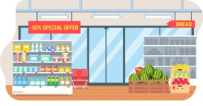 Vector Backgrounds - Mega Bundle - Colorful Supermarket Interior Vector Background Illustration