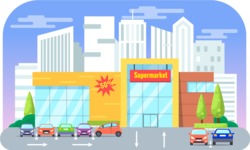 Vector Backgrounds - Mega Bundle - Colorful Supermarket with a Parking Vector Background Illustration