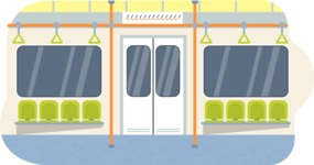 Vector Backgrounds - Mega Bundle - Colorful Metro Train Interior Vector Background Illustration