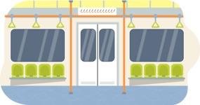 Vector Backgrounds - Mega Bundle - Colorful Metro Train Interior Vector Background Illustration