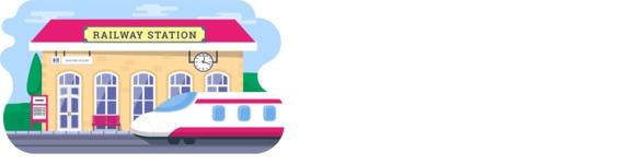 Vector Backgrounds - Mega Bundle - Colorful Railway Station Vector Background Illustration