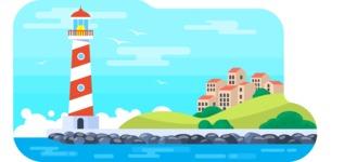 Vector Backgrounds - Mega Bundle - Flat Lighthouse and Sea Vector Background Illustration