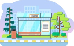 Vector Backgrounds - Mega Bundle - Bus Stop Vector Background Illustration