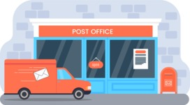 Vector Backgrounds - Mega Bundle - Post Office Vector Background Illustration