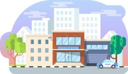 Vector Backgrounds - Mega Bundle - Police Station Vector Background Illustration