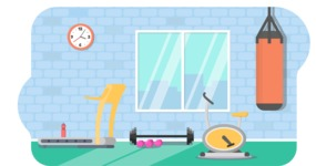 Vector Backgrounds - Mega Bundle - Flat Gym Vector Background Illustration