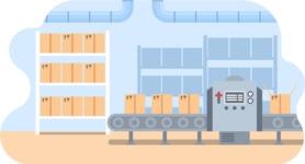 Vector Backgrounds - Mega Bundle - Packaging Process in Factory Vector Background Illustration