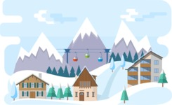 Vector Backgrounds - Mega Bundle - Ski Resort Narrow