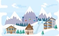 Vector Backgrounds - Mega Bundle - Ski Resort Narrow