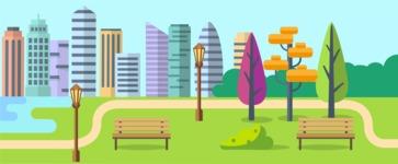 Vector Backgrounds - Mega Bundle - City Park Landscape Part 2