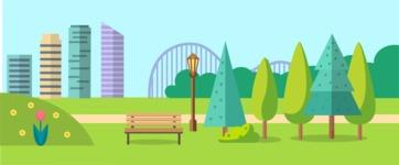 Vector Backgrounds - Mega Bundle - City Park Landscape Part 4