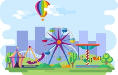 Backgrounds: World of Colors - Amusement Park Narrow Landscape