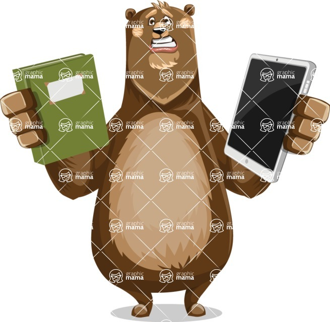 Bear Cartoon Vector Character AKA Barry Bearhug - Book and iPad