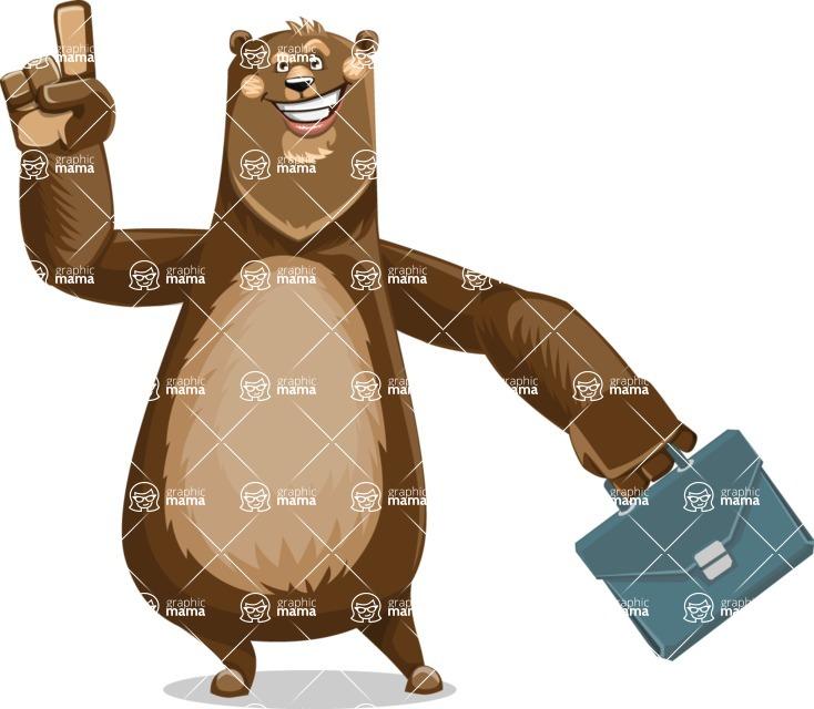 Bear Cartoon Vector Character AKA Barry Bearhug - Briefcase 2