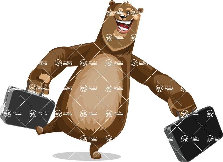 Bear Cartoon Vector Character AKA Barry Bearhug - Briefcase 3