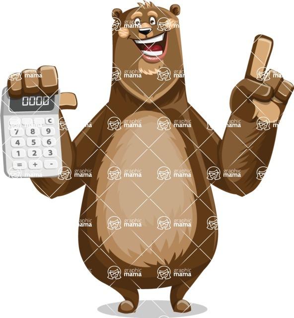 Bear Cartoon Vector Character AKA Barry Bearhug - Calculator
