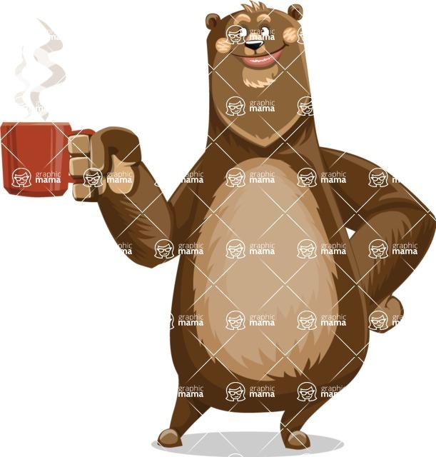 Bear Cartoon Vector Character AKA Barry Bearhug - Coffee