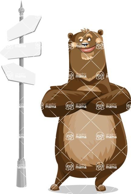 Bear Cartoon Vector Character AKA Barry Bearhug - Crossroad