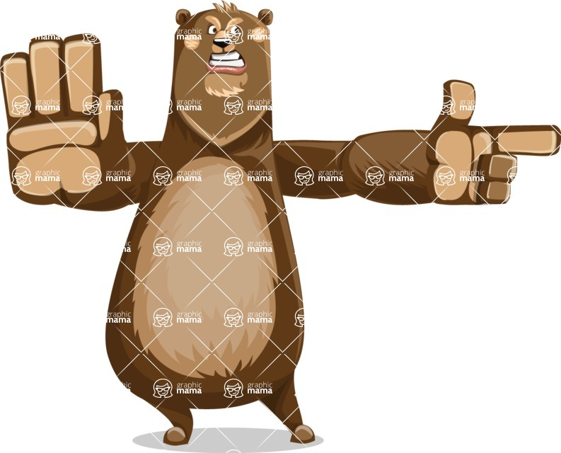 Bear Cartoon Vector Character AKA Barry Bearhug - Direct Attention 2