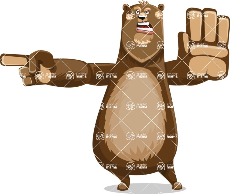 Bear Cartoon Vector Character AKA Barry Bearhug - Direct Attention
