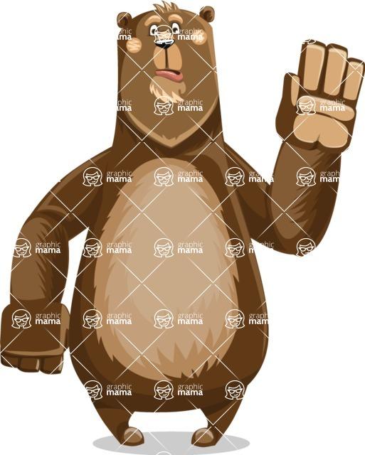 Bear Cartoon Vector Character AKA Barry Bearhug - Goodbye