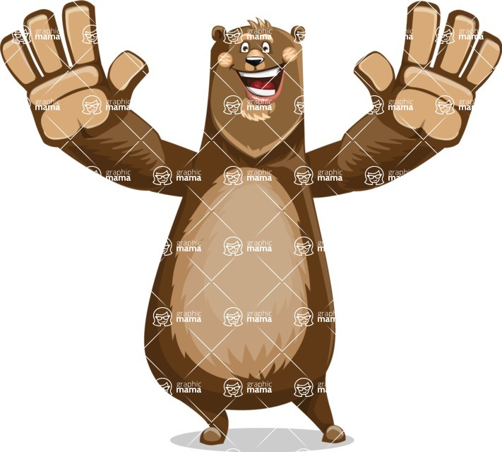 Bear Cartoon Vector Character AKA Barry Bearhug - Hello