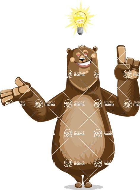 Bear Cartoon Vector Character AKA Barry Bearhug - Idea 2