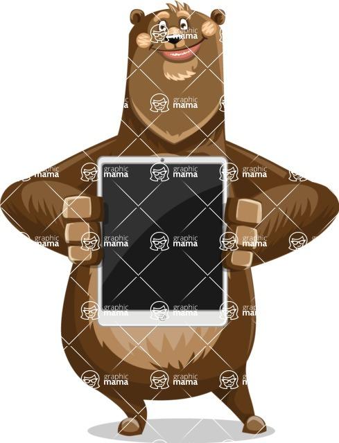 Bear Cartoon Vector Character AKA Barry Bearhug - iPad 1