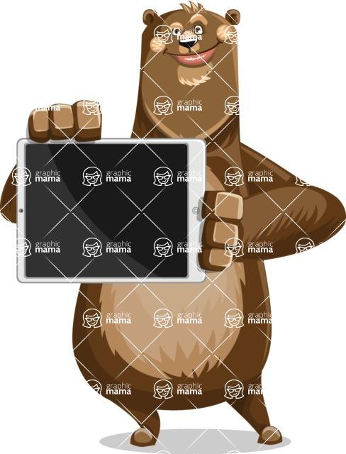 Bear Cartoon Vector Character AKA Barry Bearhug - iPad 2