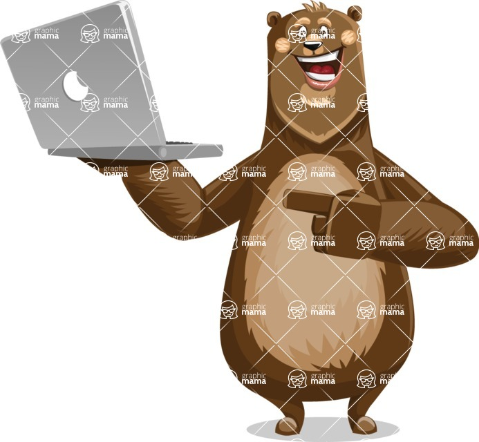 Bear Cartoon Vector Character AKA Barry Bearhug - Laptop 1