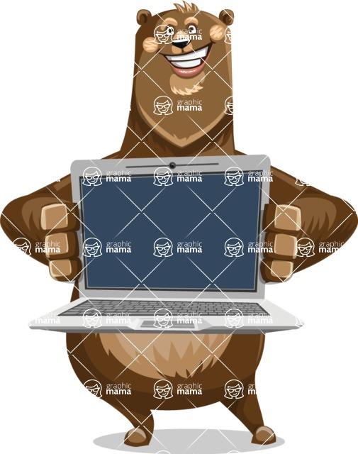 Bear Cartoon Vector Character AKA Barry Bearhug - Laptop 2