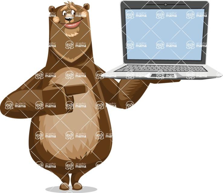 Bear Cartoon Vector Character AKA Barry Bearhug - Laptop 3