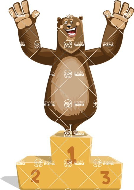 Bear Cartoon Vector Character AKA Barry Bearhug - On Top
