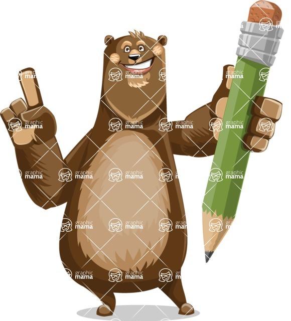 Bear Cartoon Vector Character AKA Barry Bearhug - Pencil