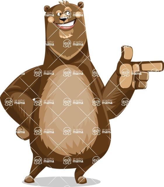 Bear Cartoon Vector Character AKA Barry Bearhug - Point